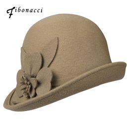 $enCountryForm.capitalKeyWord UK - Fibonacci Autumn Winter Trilby Hat Female Irregular Brim Fedoras Wool Felt Dome Floral Bowler Women Fedora Hats