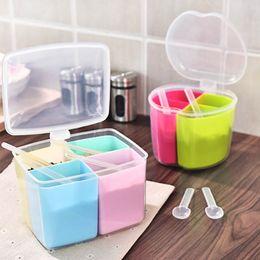 $enCountryForm.capitalKeyWord NZ - 3 Styles Plastic Seasoning Storage Jars Kitchen Organizer Accessories Detachable Pepper Spice Boxes With Spoon