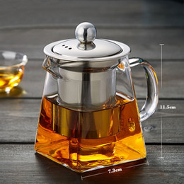 bottle blowing NZ - High-grade Blown Glass Tea Coffee Set Resistant Bottle Cup With Infuser Tea Leaf Herbal of Borosilicate Square Teapot