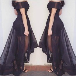 Off shOulder asymmetrical evening dress online shopping - 2018 Off Shoulder Black A Line Evening Dresses Short Sleeve Asymmetrical Charming Girls Custom Made Prom Dresses Party Dresses