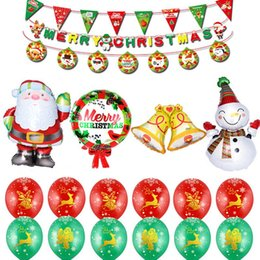 balloon santa claus UK - Merry Christmas Letters Santa Claus Balloons Set Festival Party Decoration Christmas Supplies