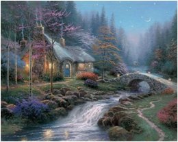 $enCountryForm.capitalKeyWord Australia - Twilight Cottage Thomas Kinkade Free Shipping,Hand-painted & HD Print Landscape Art oil painting On Canvas Home Decor Wall Art l186