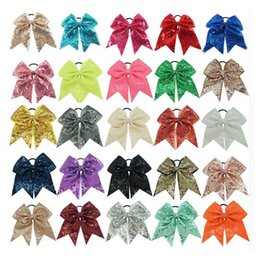 Chinese  Rainbow Cheer Bow Sequin Cheerleader Bow With Ponytail Holder Sparkle Cheerleader Sports Elastic Hair Ties For Girl manufacturers