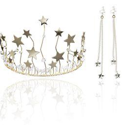 $enCountryForm.capitalKeyWord UK - Women Crown Earrings Stars Crystal Tiaras Tassels Earring Bridal Wedding Jewelry Set @M23