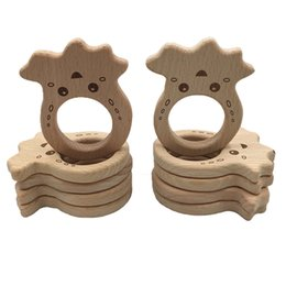 $enCountryForm.capitalKeyWord Australia - DIY Baby Teether Toys Organic Natural Beech Wooden Lovely Animal Shape Safty Hand Cut Toy Baby Wooden Teether Christmas Gift Hold Rattle