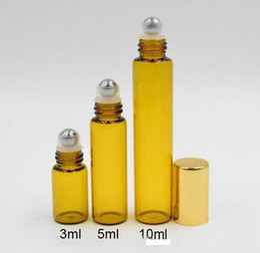 Discount amber glass bottles screw - Refillable Amber 3ml 5ml 10ml ROLL ON fragrance PERFUME GLASS BOTTLES ESSENTIAL OIL Bottle Steel Metal Roller ball by DH