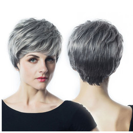 Light Color Mixing Australia - Synthetic Hair Wigs None Braided Front Lace Wigs Short Hair cut 1B Light Grey Mixed Color HighTemperature Fiber Natural Wave Wigs For Black