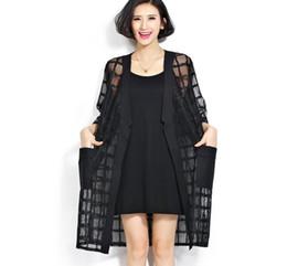 0aadc3457f9 New Plus Size Chiffon Coat Summer Style Fashion Women s Clothing Big Size  Black Plaid Print Loose Half Sleeve Lady Long Cardigan