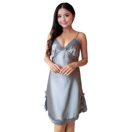 Women Sexy Night Dress Mini Nightgowns Deep-V Straps Solid Color Skirts  Silk Lace Sleepwear 425f5aea4