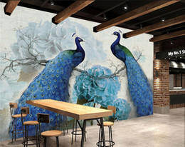 hotel chinese painting NZ - Oil painting retro peacock rich background wall folding screen cut off fashionable living room entrance Chinese office hotel