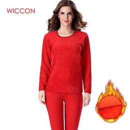 Wholesale plus size thermal underwear resale online - Winter Style Warm Thermal underwear Sets women Soft Cotton Embossing Printing Thick Plus Size XXXL Long Women s Intimates Sets