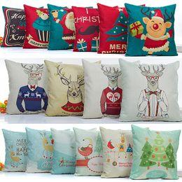 54 Car Australia - Christmas Pillow Case Snowflake Reindeer Pillowcase Linen Cartoon Cushion cover Home Sofa Car Decor Without core 54 Design HH7-1475