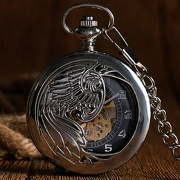 self winding pocket watch Canada - Silver Automatic Mechanical Trendy Pocket Watch Self Winding Men Pendant Vintage Elegant Phoenix Stylish Pendant with Chain