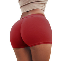 Wholesale ladies panties online – Lady Elastic Underwear Europe Russia fashion women red blue Solid color cute Slim Tight Protruding hips sexy Gym party Shorts Panties