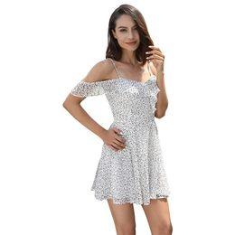 Summer Ruffle Dress Women Clothes Back to school Off Shoulder Polka Dot Print New 2018 White Chiffon Mini Dress