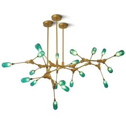 led light tree branches UK - Postmodern tree branch wrought iron Nordic living room chandelier restaurant bedroom creative green glass molecular chandelier
