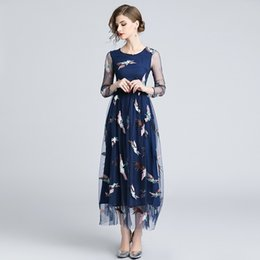 $enCountryForm.capitalKeyWord UK - Embroidery Net Yarn Dresses for Party Evening Ball Gowns Women Crew Neck Long Sleeve Tunic Dress