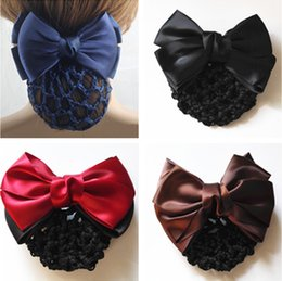 Crochet Snood Hair Net Australia - (6 Colors) Satin Lady Bow Hair Bun Net Snood Crochet Net Bun Hair Cover Women Accessories PD034