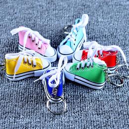 Metal Sneakers Australia - Free shipping Wholesale 10 Color 3D Sneaker Keychain Novelty Canvas Shoes Key Ring Shoes Key Chain Holder Handbag Pendant Favors
