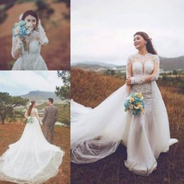 $enCountryForm.capitalKeyWord Canada - 2018 Modest Overskirts Wedding Dresses Long Sleeve Jewel Neck Lace Applique Bridal Gowns with Dechable Train Custom Made robe de mariée