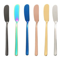 $enCountryForm.capitalKeyWord NZ - 304 Stainless Steel Butter Knife Breakfast Tool Jam knife Cheese Cream Gold Black Rose Gold Knifes Western Cutlery