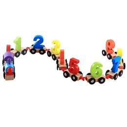 Wooden Train Blocks NZ - Baby Soft Wood Train Figure Model Toy with Number Pattern 0~9 Blocks Educational kids Wooden Toy children gifts toy