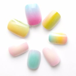 Discount little kits - Christmas Style Gradient Color Rainbow Kits False Nails 20 Pcs Pre-glue Press on Fake Nails Tips for Kits Little Girls