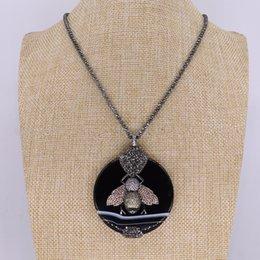 41b1a82ac8ee 3 piezas de piedra natural negro base de miel colgante de collar redondo  collar de perlas para hombres y mujeres