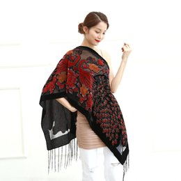 $enCountryForm.capitalKeyWord NZ - 12 Colors UK Peacock Velvet Shawl Women Scarf Fashion Winter Pashmina Poncho US Gift For Lady free shipping D18102905