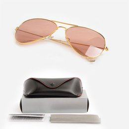Scratch Glasses Lens Canada - High Quality pilot Sunglasses Pink Fashion Unisex Sunglasses Womens Brand Designer Sun glasses Glasses Glass Lens Mens Sunglasses with cases