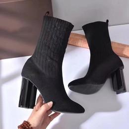 Vente en gros 10cm talons hauts chaussettes tricotées bottes mode marque designer soirée soirée bottes femmes avec boîte d'origine