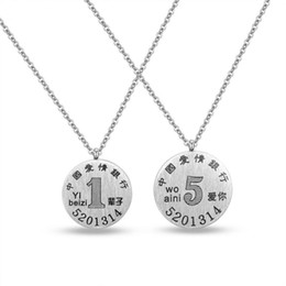 coin links UK - Silver Color Fashion Lover's Coin Pendant Necklace Stainless Steel Link Chain Necklace Jewelry Gift for Girls Boys 1426