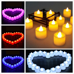 flickering candle lights NZ - Creative Wedding Birthday Party Decoration LED Candles Flicker Flameless Color Changing Tea Light Candles Battery Candle
