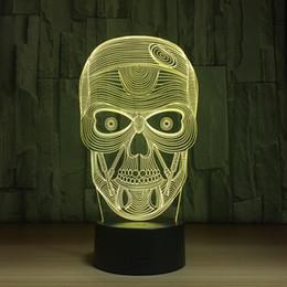 Round Skull NZ - 2018 SKull 3D LED Optical Illusion Lamp Night Light DC 5V USB Charging AA Battery Wholesale Dropship Free Shipping