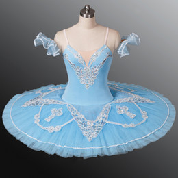 Blue Tutus For Women NZ - Adult Light Blue Professional Ballet Tutus white Lace classical ballet dress Pancake Stage Costumes For Women And Girls
