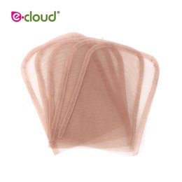 make lace closure Australia - 5pcs bag 4X4inch Swiss Lace Closure Frontal Base Brown Hand-woven Hair Net Piece For Making Lace Cap Closure Accessory