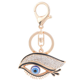 resin keychain UK - Fashion Women Eye Pattern Key Ring Chains Clear Crystal Round Charm Keyholder Gold Color Keychain Jewelry For Lady bag