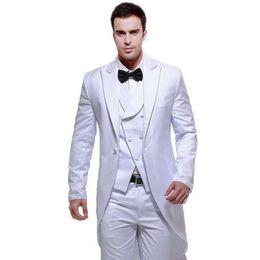 $enCountryForm.capitalKeyWord UK - White Tailcoat Men Suits for Wedding 3 Pieces Long Jacket Double Breasted Vest Retro Classic Suits Pants Best Man Blazers Groomsmen Dress