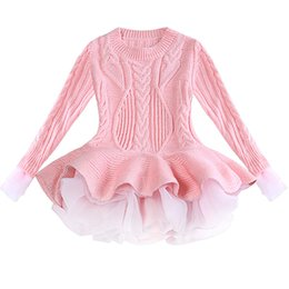 bc405f0b7d7 Christmas Girl Knitted Sweater Dresses Princess Knitting Tulle Dress Autumn  Winter Woolen Long sleeve Dress kids clothing
