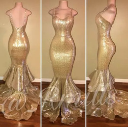 Bling Gold Sequins Mermaid Prom Dresses 2018 Spaghetti Straps Ruffles Backless Evening Gowns Long Formal Party Dresses