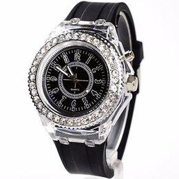 Chinese  Unisex Geneva Sports Waterproof LED Backlight Silicone Band Quartz Wrist Watch manufacturers