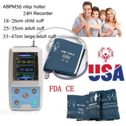 ABPM50 Handheld 24 horas de Monitor de Pressão Arterial Ambulatorial com Software PC para Monitoramento Contínuo NIBP Porta USB com 3 Punhos
