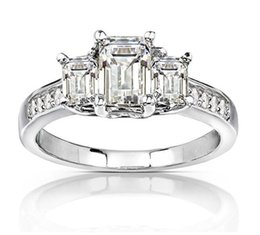 emerald cut wedding set Canada - Latest Design 9K,14K,18K White Gold Group Setting Three Stones Emerald Cut Fashion Moissanite Ring With Certificate