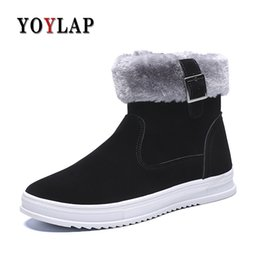Discount men shoes sneakers zipper - YOYLAP New Men Boots for Men Winter Snow Boots Warm Plush High Top Flat Fashion Shoes Side zipper Sneakers
