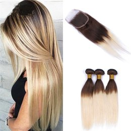 $enCountryForm.capitalKeyWord NZ - Two Tone 4 613 Brown Blonde Ombre Straight Hair Bundles with Lace Closure Chocolate Brown to Blonde Ombre Human Hair Weaves and Closure