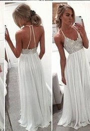 $enCountryForm.capitalKeyWord NZ - 2019 Cheap Silver Applique Party Prom Dresses Halter Top Open Back White Chiffon Draped Formal Dress Girl Women Prom Gowns Evening Dress