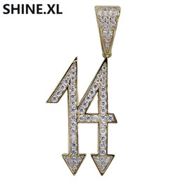 Chinese  Hot Selling Number 14 Pendant Necklace Iced Out Cubic Zircon Copper Gold Silver Plated Men HipHop Jewelry Gift manufacturers