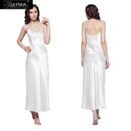 $enCountryForm.capitalKeyWord NZ - Lilysilk 100% Long Silk Elegant Nightgowns Women Bride Sexy 22 Momme Wedding Slip Lingerie Sleep Dress Luxurious Pure Sleepwear