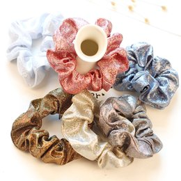 Ponytail Scrunchie Canada - Women Scrunchie Glitter Hair Ties for Girls Hair Ponytail Holders Rope Colorful Elastic Hairbands for Women Hair Accessories