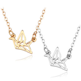 $enCountryForm.capitalKeyWord NZ - Simple Gold Silver Paper Crane Charm Pendants Hollow Dove Baby Bird Choker Necklace Fashion Jewelry For Women Girls Gifts